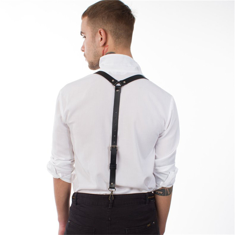 Fashion Leather Belt Suspenders Harness Men Adjustable Vintage Y-Shape Trouser Suspenders Lingerie With Metal Buckle Accessories