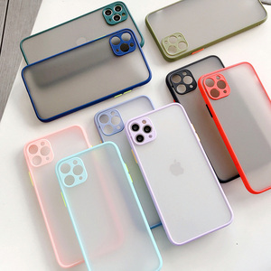 Clear Hard PC Camera Protection Shockproof Phone Case For iPhone 11 Pro X XR XS Max 8 7 Plus SE 2020 Solid Contrast Color(China)