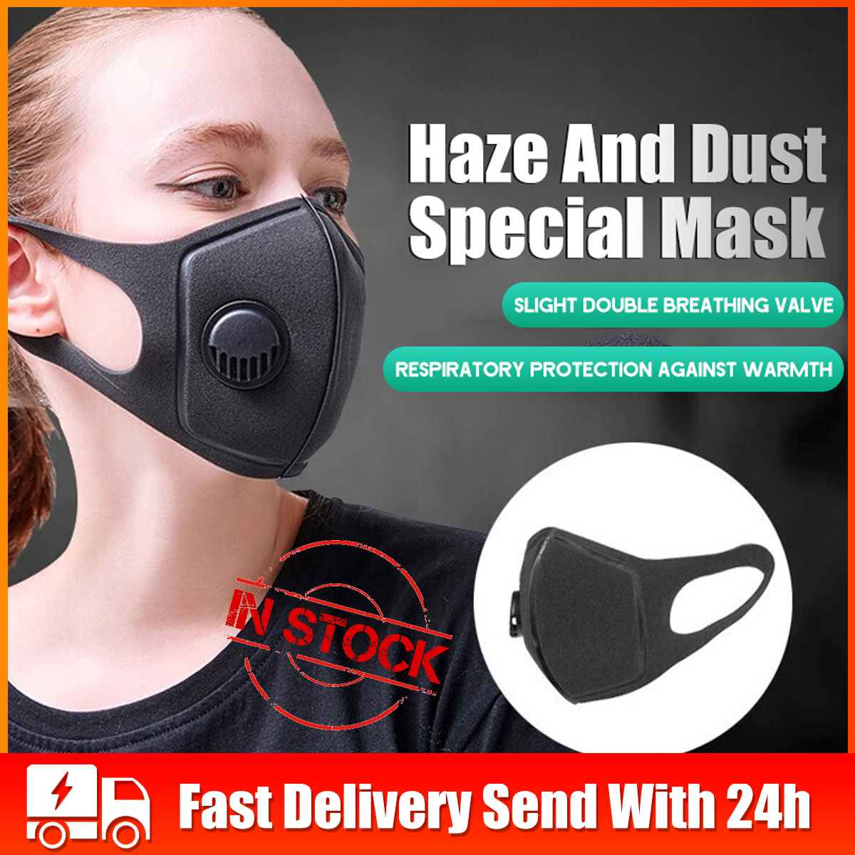 PM2.5 Sponge Face Mask Dust-proof Haze Breathing Valve Mask Protection 3D Ear Hanging Windproof Anti-Smog For Adult Children