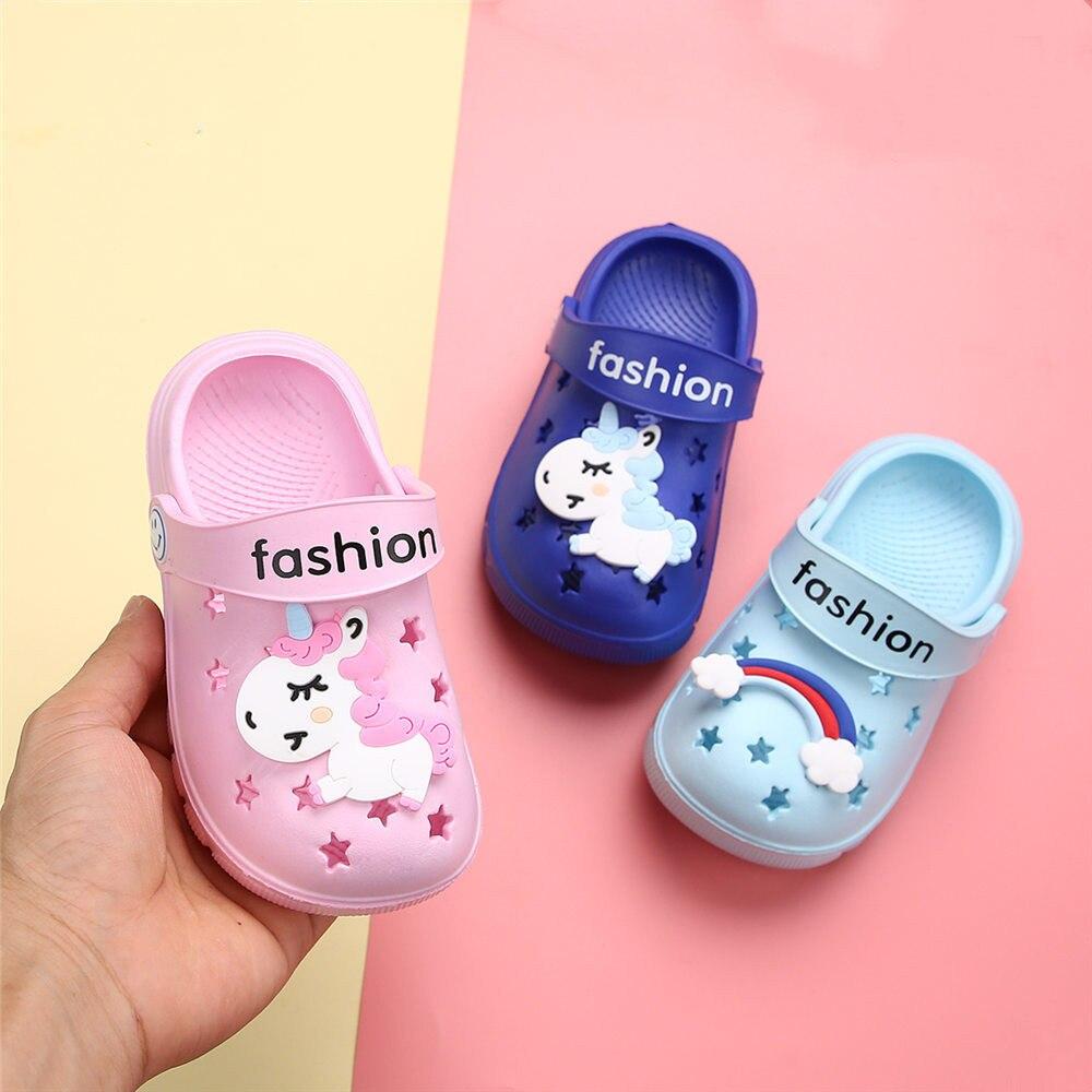 Suihyung Summer Kids Sandals Cartoon Rainbow Unicorn Beach Cave Shoes Soft Non-slip Boy Girl Slippers Toddler Baby Garden Shoes