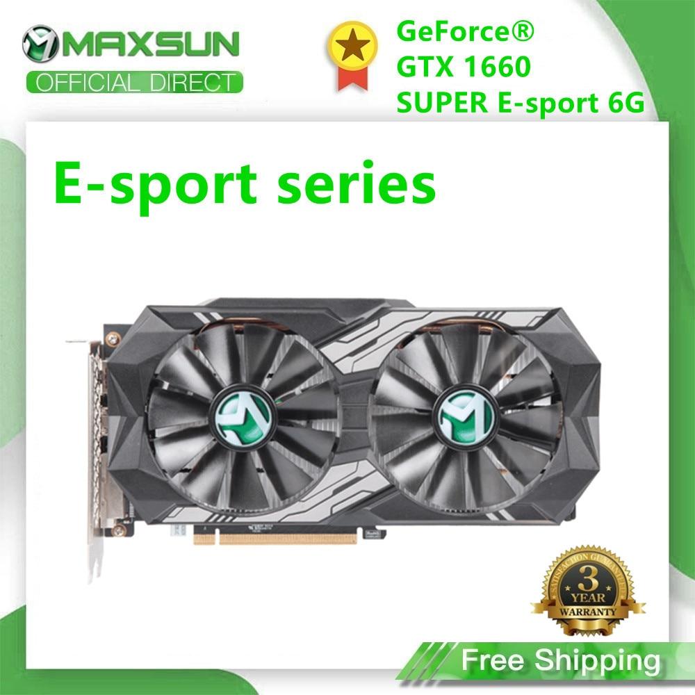 Maxsun GTX 1660 Super E-sport 6G графическая карта Nvidia GDDR6 GPU 192 бит видео игровая 12 нм RGB видеокарта для ПК