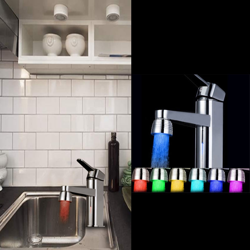 3 Colors Led Light Water Flow Temperature Sensor Control Faucet Tap Kitchen Sink