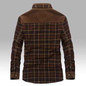 Image 3 - 2020 Mens Winter Warm Thick Fleece Casual Brand Good Quality 100% Cotton Plaid Shirt Man Thicken Army Grid Long Sleeve Shirts
