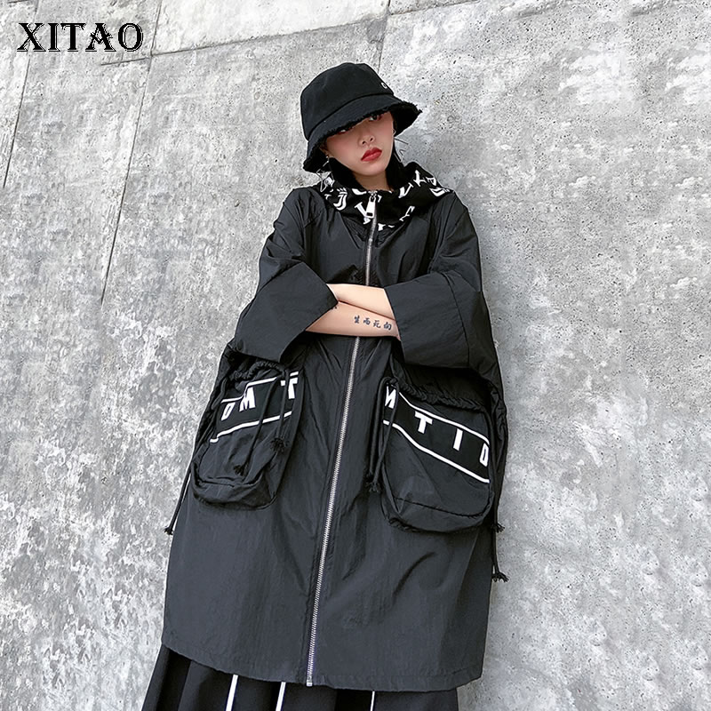 XITAO Letter Packet Trench Drawstring Elegant 2020 Spring Plus Size Elegant Pleated Goddess Fan Casual Minority Coat DMY3162