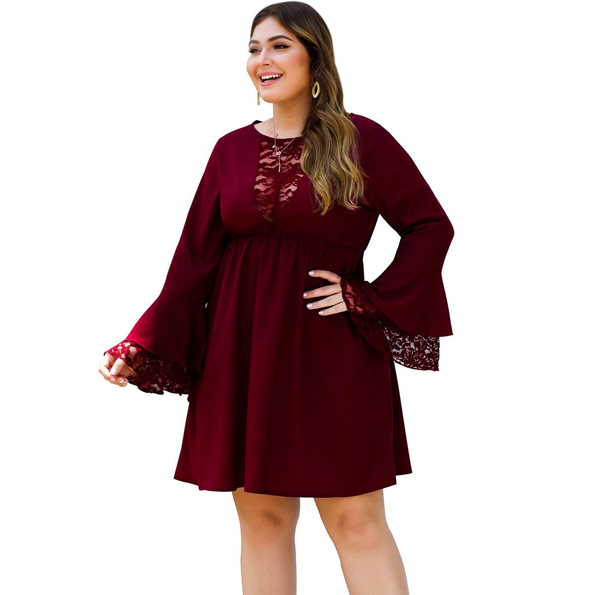 Women Plus Size 4XL <font><b>5XL</b></font> <font><b>Sexy</b></font> Lace <font><b>Dress</b></font> O Neck Black Large size Bell Sleeve Office Lady <font><b>Dress</b></font> 2019 Autumn Casual Big Size <font><b>Dress</b></font> image