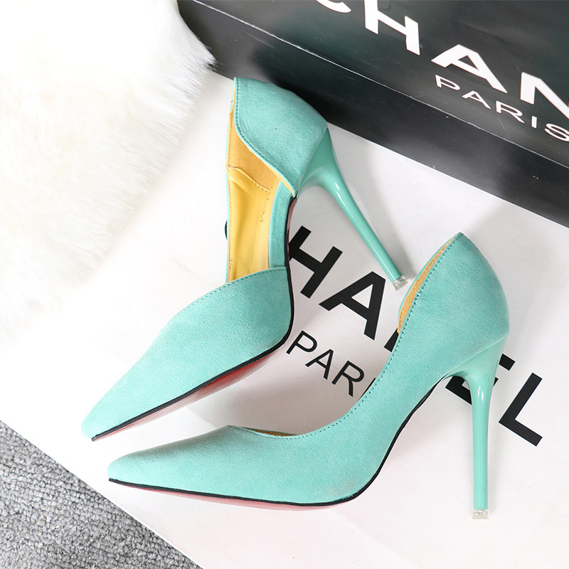 Fashion Simple Stiletto Suede Shallow Mouth Pointed Side Hollow Women's Shoes Womens Sexy 11cm Heels High Heel Wedding Shoes