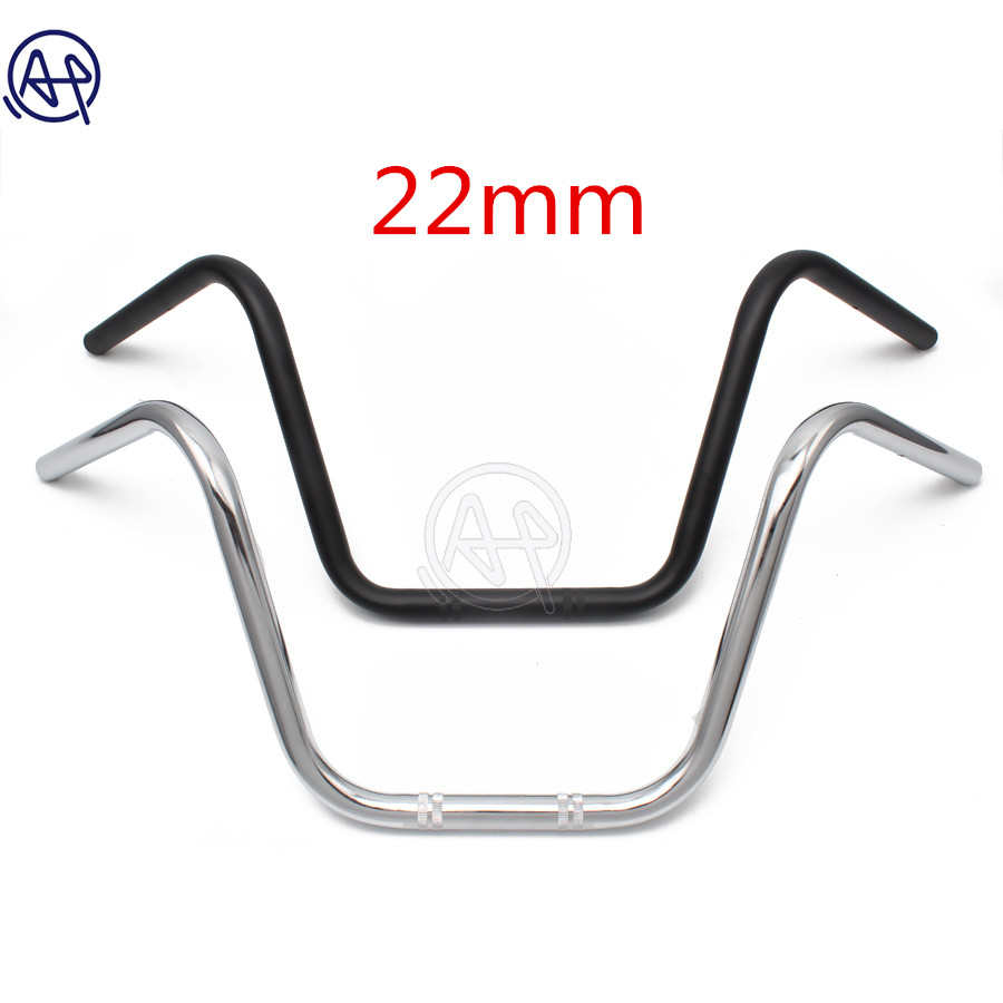 "22MM 7/8"" Motorcycle High Rider Steel Handlebars Bars Chrome/Black For Honda Kawasaki Suzuki Harley Chopper Bobber Cafe Racer