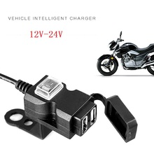 Dual USB Port Motorcycle Dual USB Charger 12V-24V Waterproof for Motorcycle Adapter Power Supply Socket for Phone Mobile waterproof dual usb charger motorcycle cell phone charging port 12v to 5v 2 1a power adapter