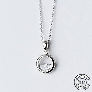 Real 925 Sterling Silver Crystal Round Minimalist Pendant Necklaces Minimalist Fine Jewelry For Women Party Accessories