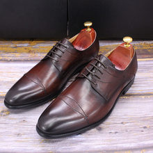 Туфли дерби мужские классические, натуральная телячья кожа, на шнуровке, заостренный носок, ручная работа, деловые, размеры 39-44