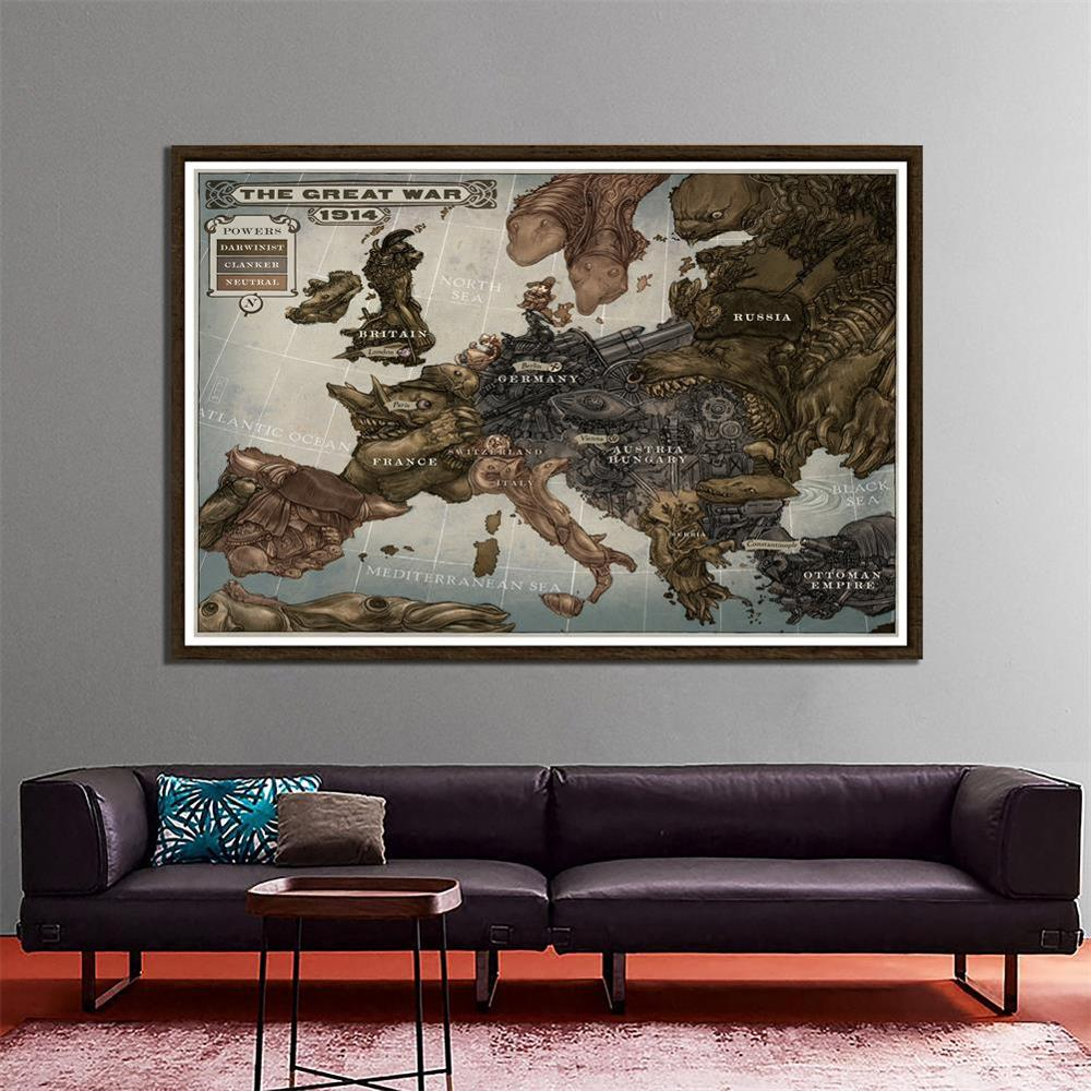 Non-woven Office Home Decor Map The Great War 1914 History Map Of Europe 150x100cm WW1 Foldable Map