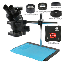 Stereo Microscope 50MP Video-Camera Simul-Focal trinocular Soldering-Repair HDMI UHD