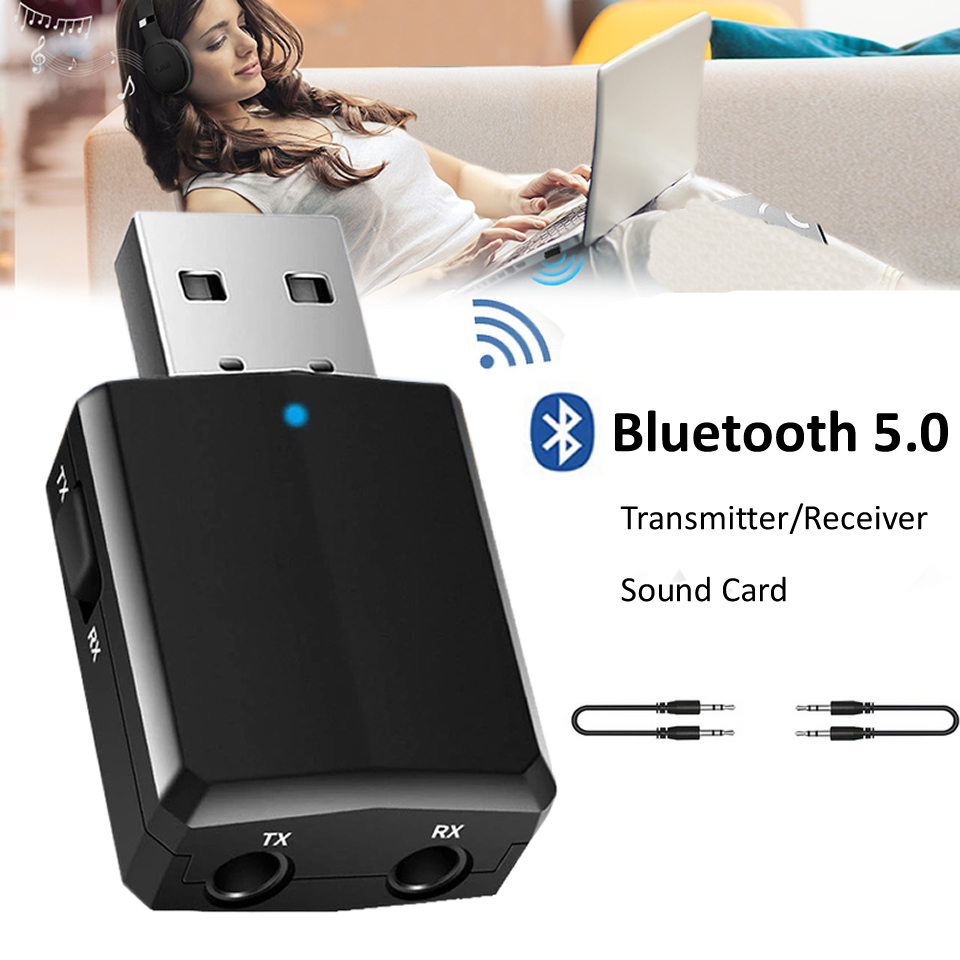 Electop USB Bluetooth 5.0 Transmitter Receiver 3 in 1 EDR Adapter Dongle 3.5mm AUX for TV PC Headphones Home Stereo Car Audio image