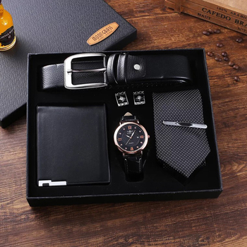 Fashion Men Watch Gifts Set Top Quality Belt Business Quartz Wrist Watch Folding Wallet Tie Cufflinks Tie Clips For Men Father
