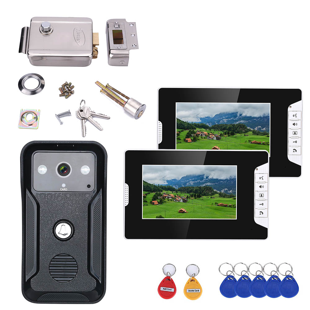 7inch Visual Intercom Doorbell RFID System With HD Doorbell 1000TVL Camera With Home Stainless Steel Electronic Door Lock