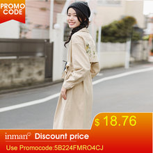 INMAN Women Winte Lapel Embroidered Trench Coat