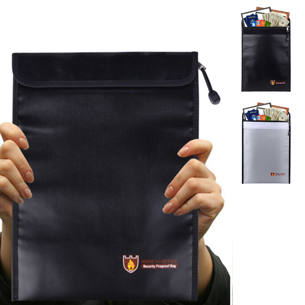 Fire Water Resistant Document Money Bag Pouch Fireproof Protected Storage Waterproof Fireproof Pouch Flie Bag