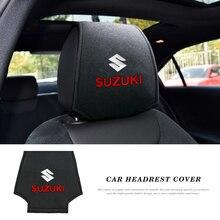 2pcs Car Headrest Cover Auto Head Pillow Pillowcase Car Sticker for Suzuki Swift Jimny Swift Vitara Samurai Grand vitara Sx4 Kiz