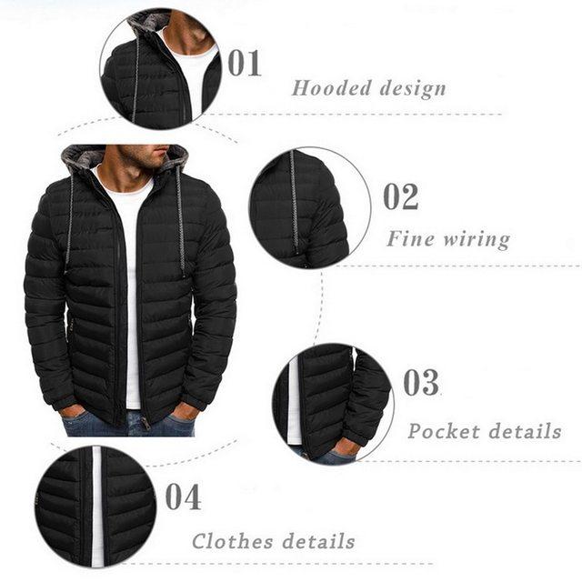 2020 Winter Hooded Jackets Padded jacket men Thicken Warm Lightweight Parkas  New Males Windproof Jackets 5