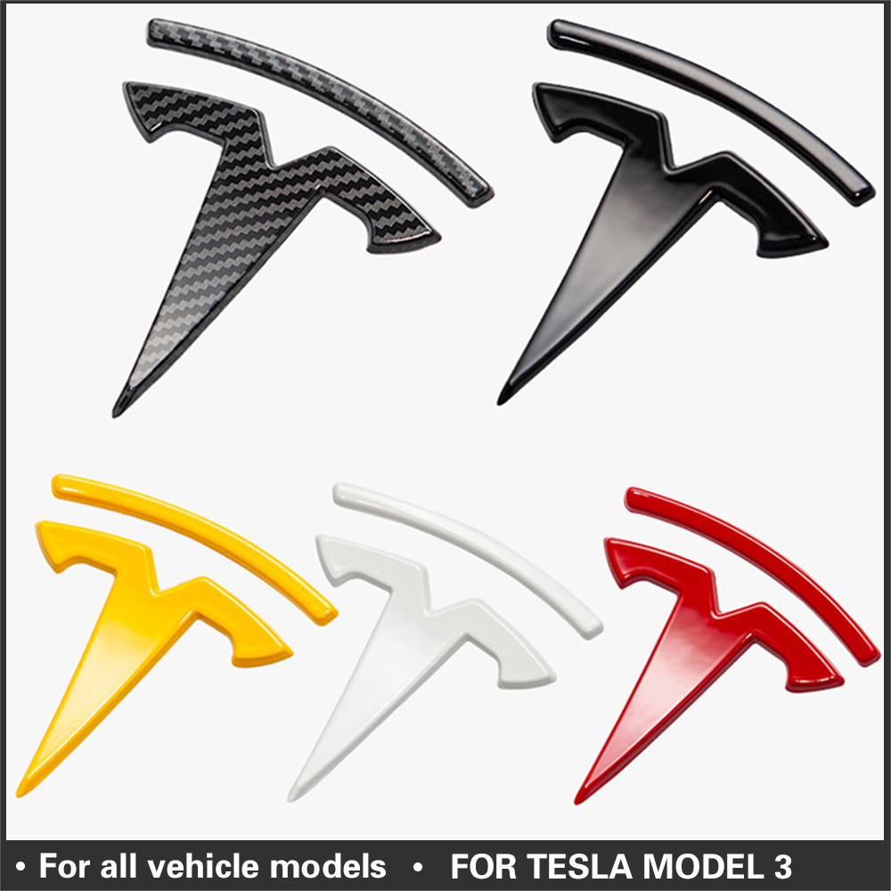 For Tesla model 3 Carbon Fiber ABS Front Logo Accessories Model3 Car Front Rear Sticker Accessories Logo Model Three 2020