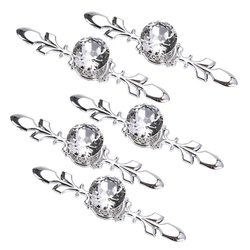 5 Pack Crystal Drawer Knobs with Silver Plate   Diamond Shape Cabinet Drawer Knob Drawer Pull Handle Cupboard Wardrobe Drawer Pu|Uchwyty do drzwi|Majsterkowanie -