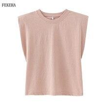 Summer T-Shirt Women Shoulder Padded O-Neck Sleeveless Solid Cotton Female T