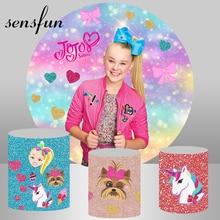 Sensfun Round Jojo Siwa Photography Backgrounds For Photo Studio Bokeh Colorful Girls Birthday Party Circle Backdrops Custom