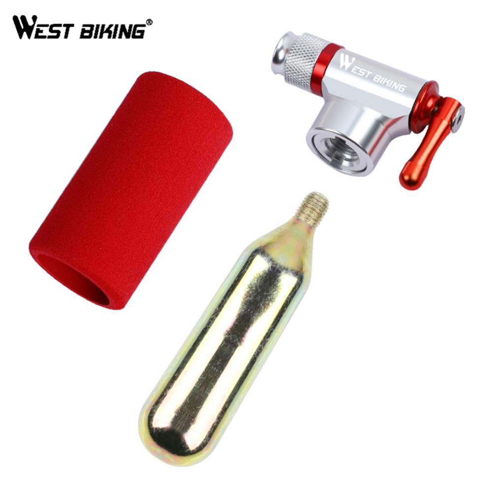 WEST BIKING CO2 High Pressure Air Pump Portable Bicycle Pump Mini Lightweight Inflator Cycling Bike Pump Without CO2 Tank
