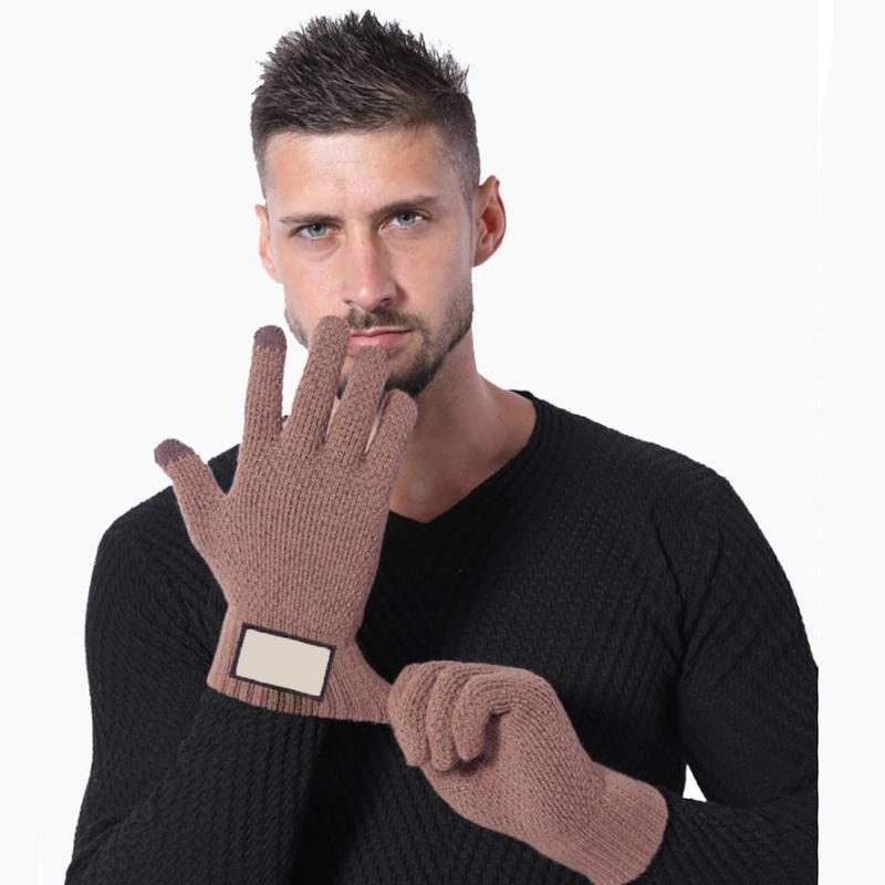 Knitted Screen Wool Cotton Casual Black Gloves Men's Winter Plus Velvet Thickening Outdoor Cold Warm Thicken Men Gloves