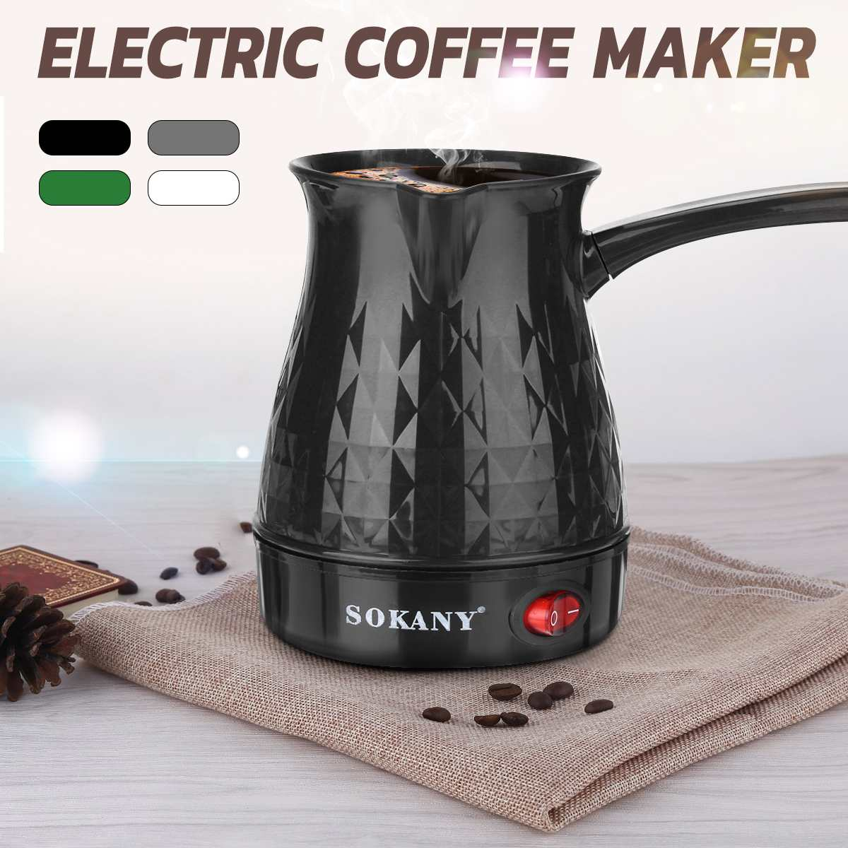 600W Coffee Maker Greek Turkish Electric Coffee Pot Portable 500ml Espresso Machine Fast And Heat Resistant Waterproof EU Plug