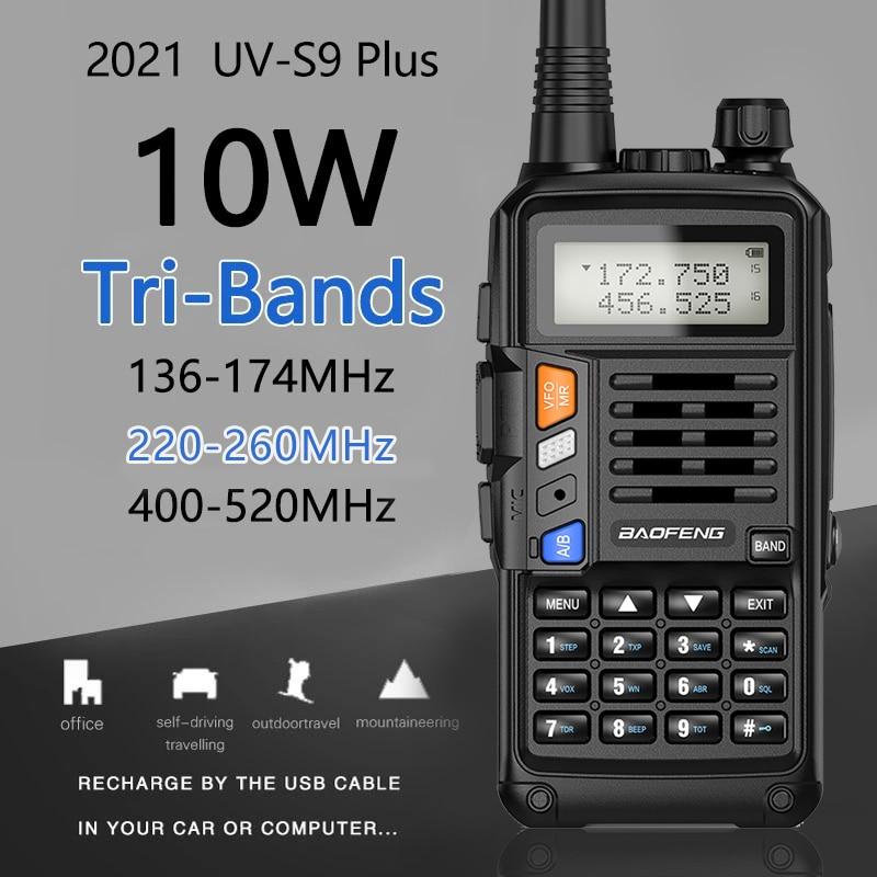 BaoFeng UV-S9 плюс Tri-Band10W мощный 2xAntenna VHF UHF 136-174 МГц/220-260 МГц/400-520 МГц 10 км дальность Ham Портативный одновременное подключение двух теле