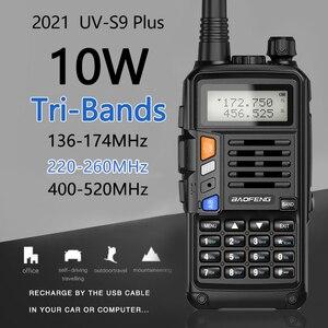 Image 1 - BaoFeng UV S9 плюс Tri Band10W мощный 2xAntenna VHF UHF 136 174 МГц/220 260 МГц/400 520 МГц 10 км дальность Ham Портативный одновременное подключение двух теле