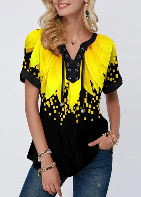 Plus Size 4xl 5x Pullovers Blouse shirt Boho Print Lace Splice Women's Tops V-neck Loose 2020 Casual Summer New Female Tee Shirt 5