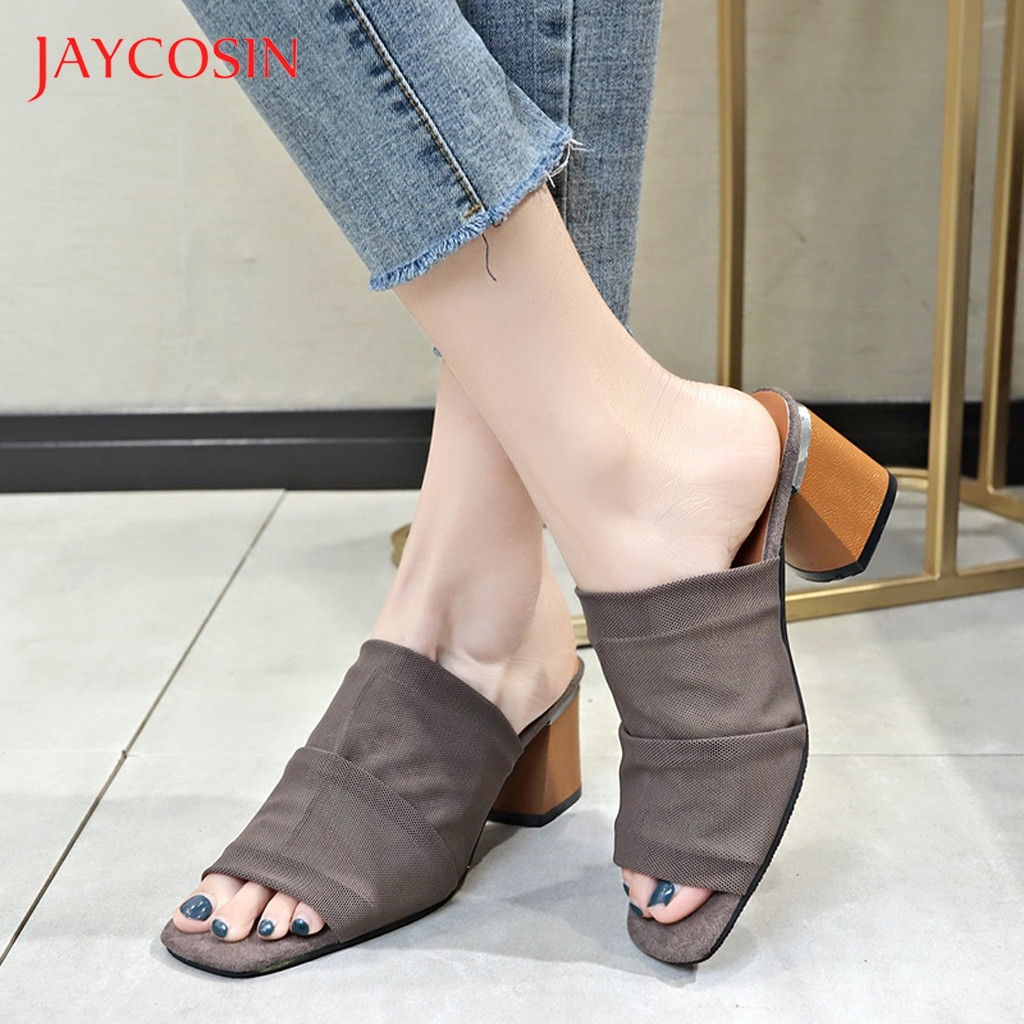 JAYCOSIN Slippers Women summer Ladies Square Heel Peep Toe Causal Slip On Leisure style Shoes Woman Sandals sexy party zapatos 1 1