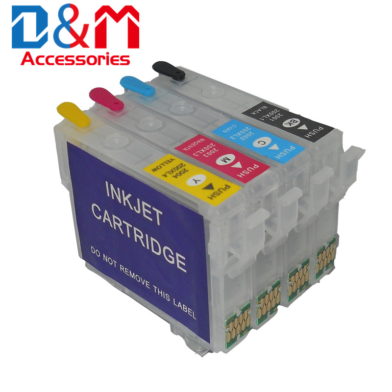 1Set Refillable Ink Cartridge No Chip 212 212XL For Epson Expression Home XP-4100 XP-4105 WorkForce WF-2830 WF-2850