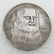 Да Винчи 1452-1519 коллекционная монета ремесленничества серебряные памятные монеты подарок маркер перевозка груза падения