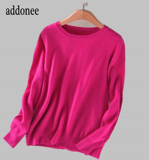 High Quality Pure Colors Spring Autumn Winter European Style Women Fashion Pullovers Knitted Cashmere Wool Sweater Lady Big Size