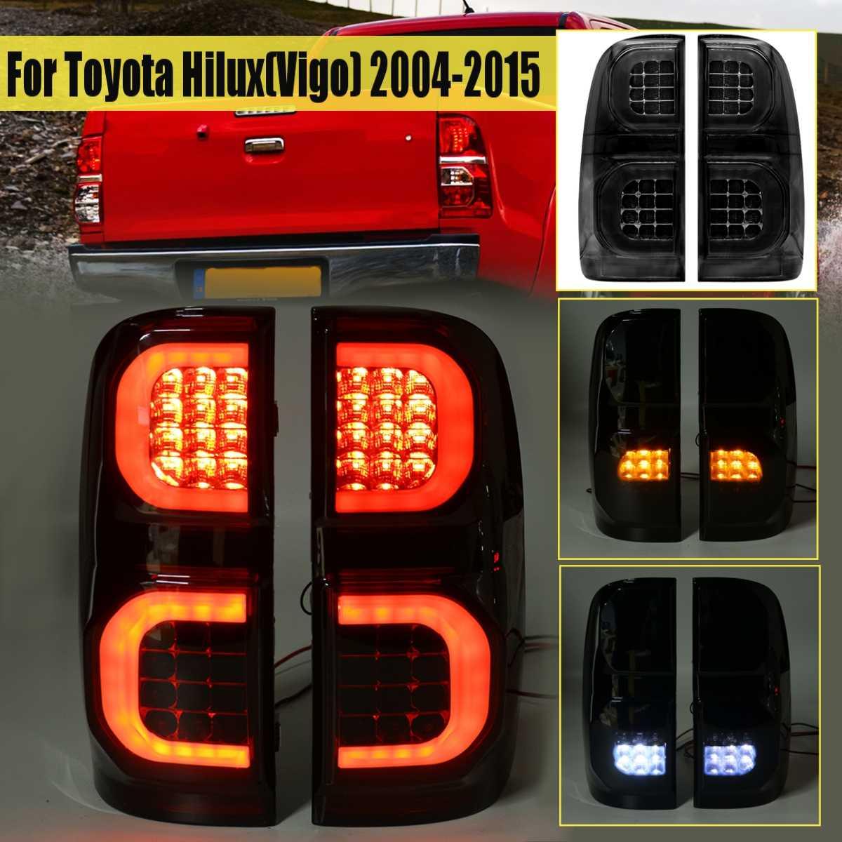 2 Pcs Car Smoke Led Taillights For Toyota Hilux Vigo KUN26 SR SR5 Workmate 2004 2005 2006 - 2015 Pickup Reverse Brake Rear Light