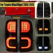 2 Pcs רכב עשן Led פנסים אחוריים עבור טויוטה Hilux Vigo KUN26 SR SR5 Workmate 2004 2005 2006   2015 איסוף הפוך בלם אחורי אור
