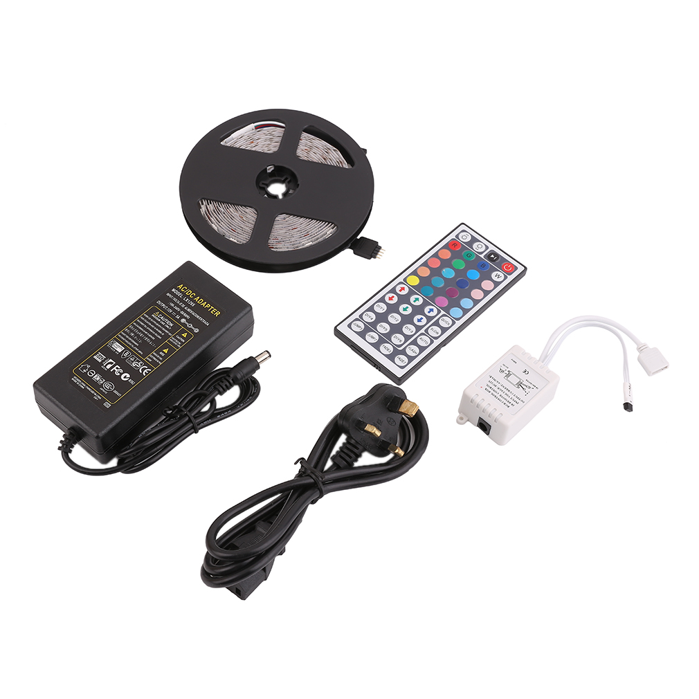 5M 5050SMD RGB 300 LED Strip Flexible Waterproof Light With 44key Remote Controller And 5A Power IP20 UK/US/EU Plug
