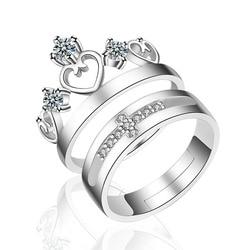 Любовь всем сердцем 925 серебро кольца пара колец ювелирные изделия обручальное кольцо для мужчин и женщин, аксессуары для свадьбы, регулиру...
