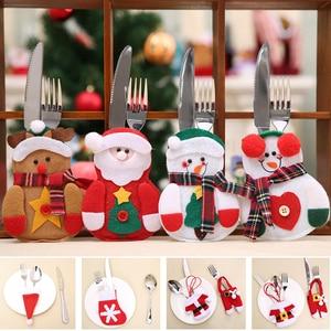 Image 1 - 2 pçs natal talheres garfo faca titular saco de talheres papai noel elk boneco de neve chapéu decorações de natal casa jantar mesa decoração