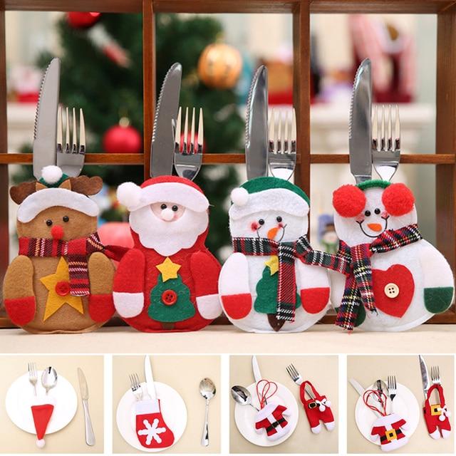 2 pçs natal talheres garfo faca titular saco de talheres papai noel elk boneco de neve chapéu decorações de natal casa jantar mesa decoração
