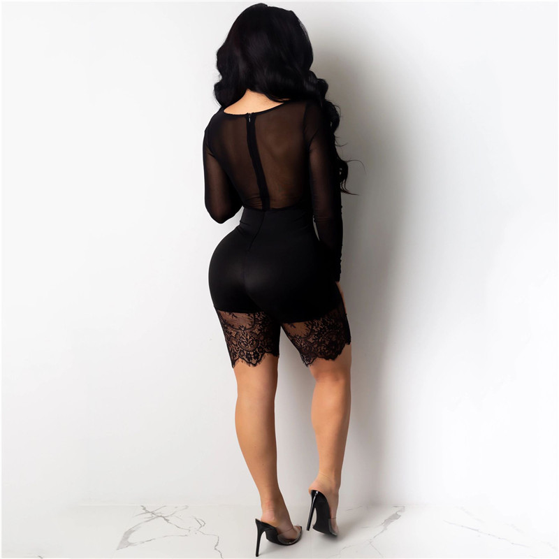 H8e09a282ae8149f79d07ad7f16428e61O - WUHE Lace Patchwork Sexy Spaghetti Strap Jumpsuits Women Off Shoulder Sleeveless Elegant Bodycon Bandage Party Short Playsuits