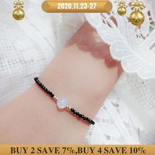 LiiJi Unique mode femmes Bracelet réel noir spinelles 2 3mmReal pierre de lune 7 8mm925 argent Sterling fermoir Bracelet 7  8
