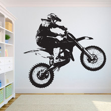 Dirt Bike Motocross Wall Decal Motorbike Cool Style Window Vinyl Stickers Teens Bedroom Man Cave Club Home Decor Wallpaper E128
