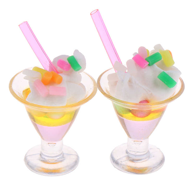 1Pc 1:12 Dollhouse Miniature Ice Cream Cups Dolls Kitchen Food Accessories