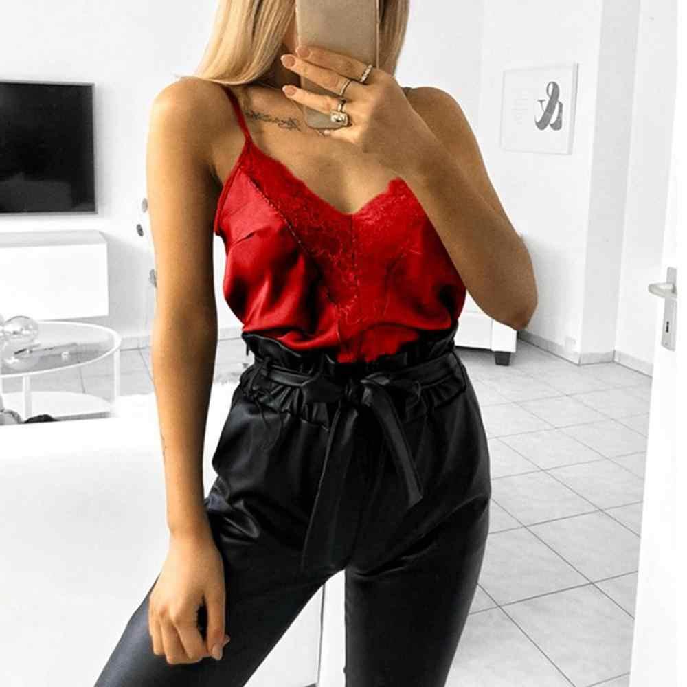 Tops de encaje Mujer Sexy sólido Tank Top seda camisola noche Club fiesta 2019 nuevo verano Sexy Camis satén Top ropa mujer