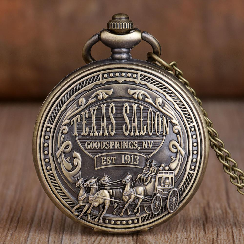 2019 Retro Pocket Watches Stainless Steel Vintage Fashion Quartz Pocket Watches With Necklace Chain For Men Women Best Gifts
