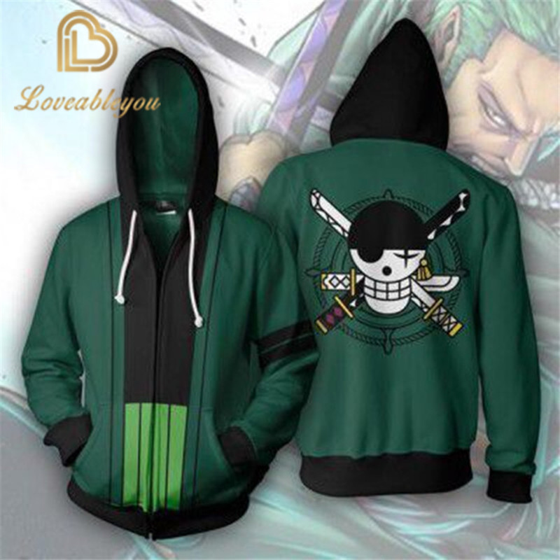 Anime One Piece Roronoa Zoro 3D Zipper Hoodie Cosplay Costume Streetwear Hoodies Off White Sweatshirt For Men And Women